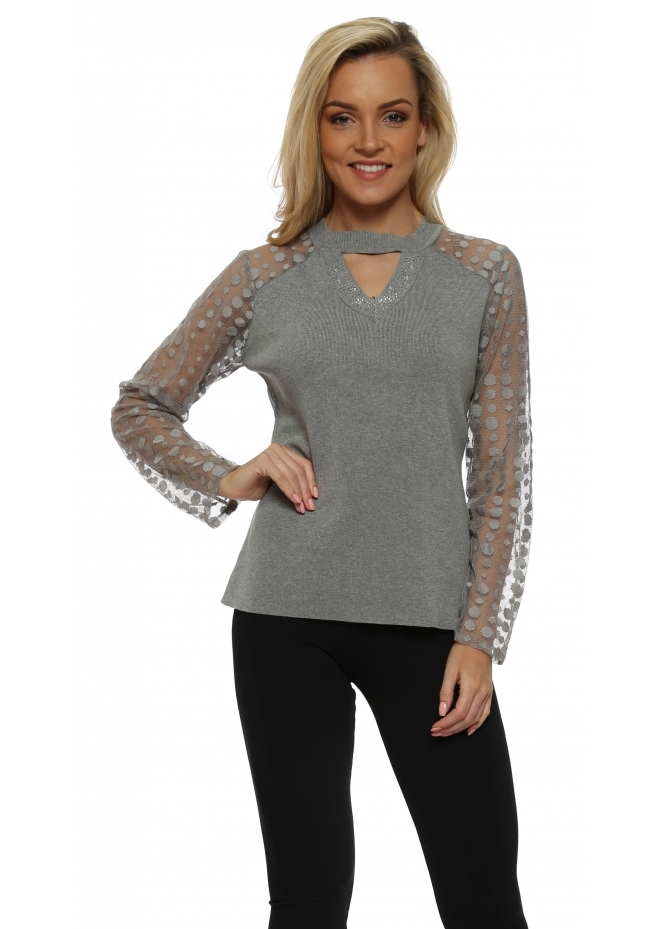 Laetitia Mem Grey Mesh Spot Sleeve Crystal Choker Jumper