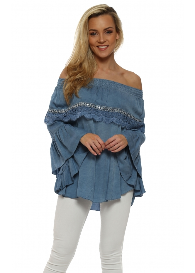 Pinka Blue Lace Off The Shoulder Top