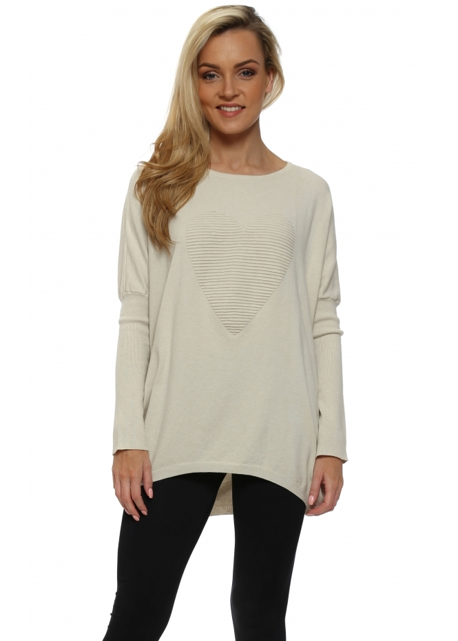 Laetitia Mem Beige Ribbed Heart Motif Oversized Jumper