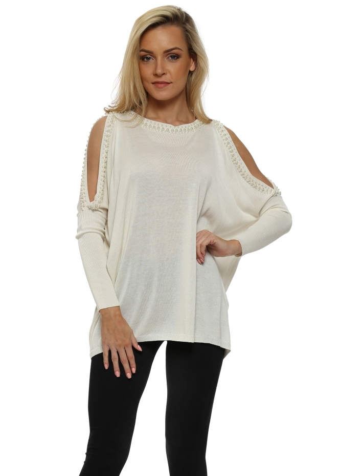 French Boutique Ivory Pearl Trimmed Cold Shoulder Jumper