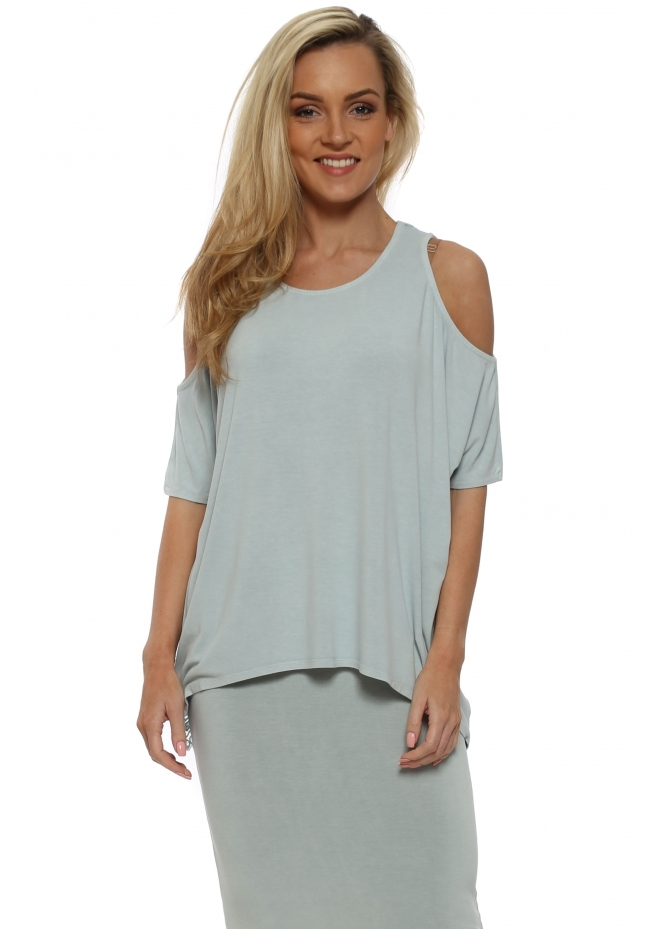 A Postcard From Brighton Twin Peaks Julep Grey Cold Shoulder Lace Top