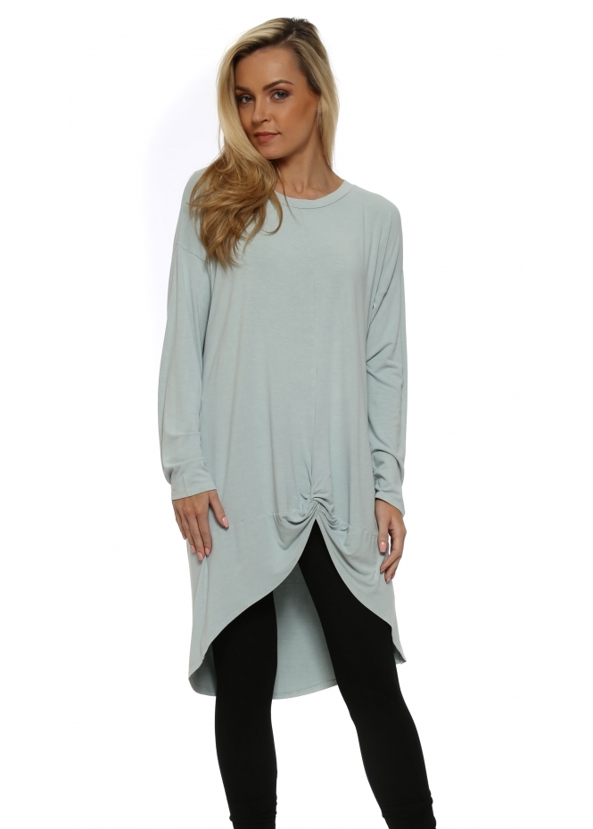 A Postcard From Brighton Julep Grey Frankie Knotted Front Oversized Top