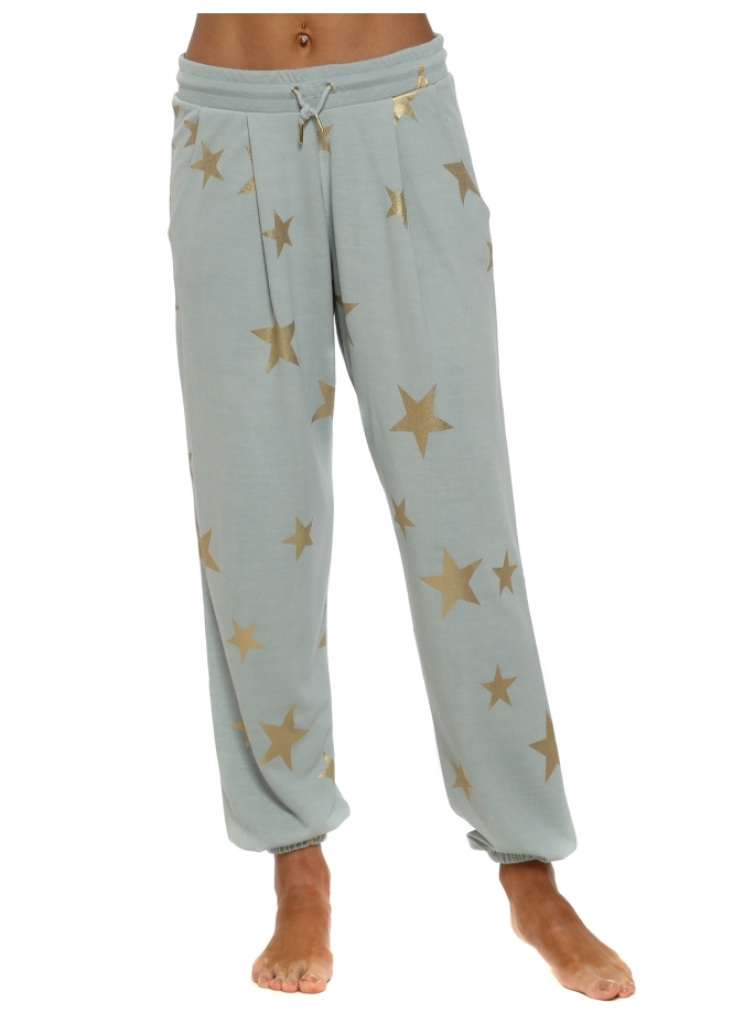 A Postcard From Brighton Brooke Julep Grey Gold Foil Star Jogger Pants