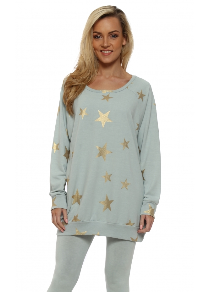 A Postcard From Brighton Blair Julep Grey Gold Foil Star Sweater