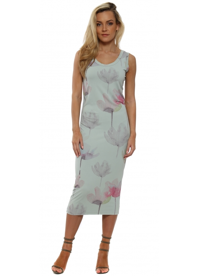 A Postcard From Brighton Angelina Arty Bloom Julep Grey Midi Dress