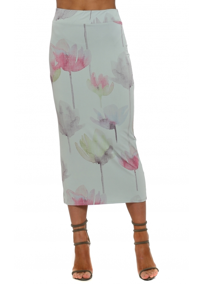 A Postcard From Brighton Audrey Arty Bloom Midi Skirt In Julep Grey