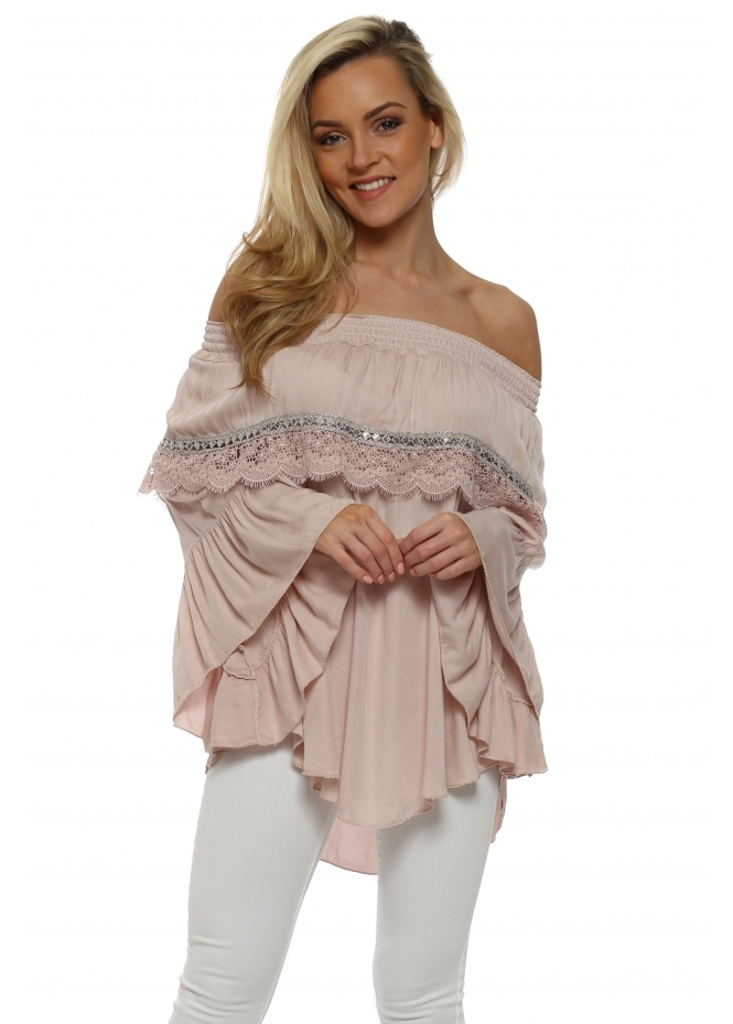 Pinka Pink Lace Off The Shoulder Top