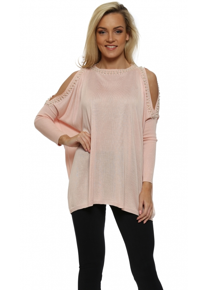 Drole de Copine Baby Pink Pearl Trimmed Cold Shoulder Jumper