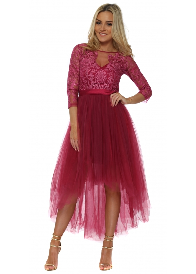 Chi Chi Berry Tulle Embroidered Dip Hem Dress
