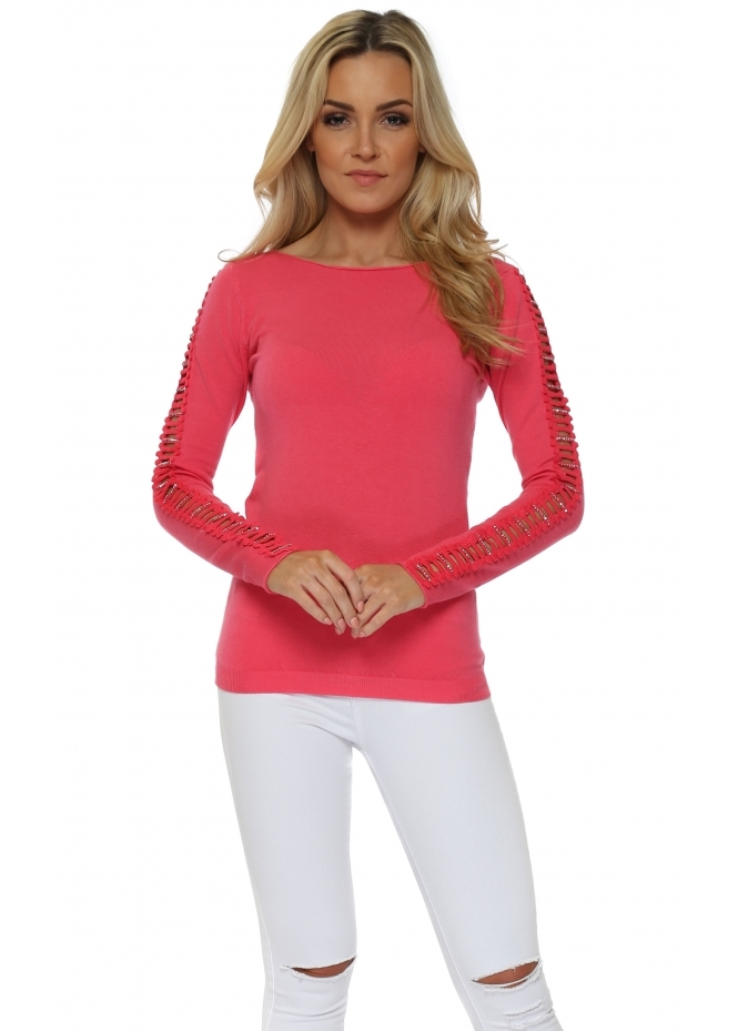 French Boutique Hot Pink Ladder Jewelled Sleeve Jumper