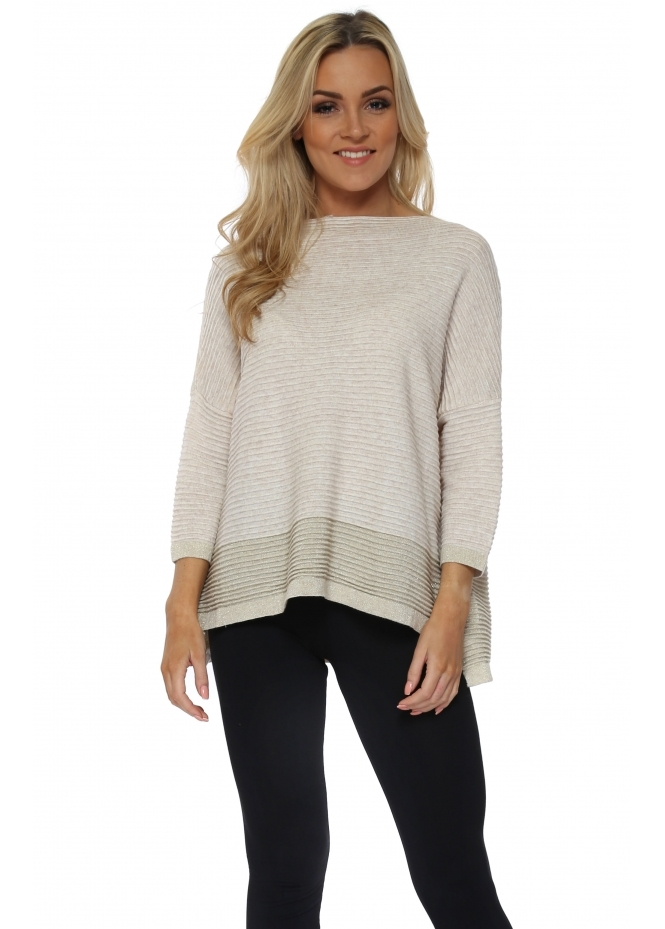 French Boutique Beige Colour Block Lurex Ribbed Jumper