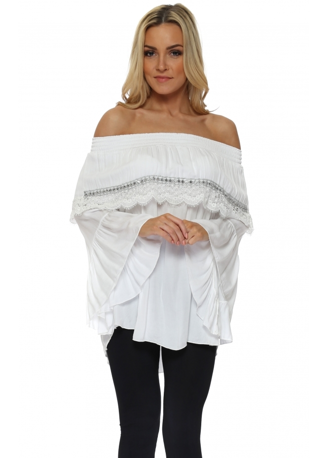 Pinka White Lace Off The Shoulder Top