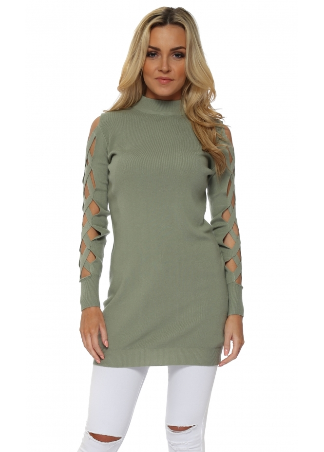 Laetitia Mem Sage Open Lattice Sleeve Long Jumper