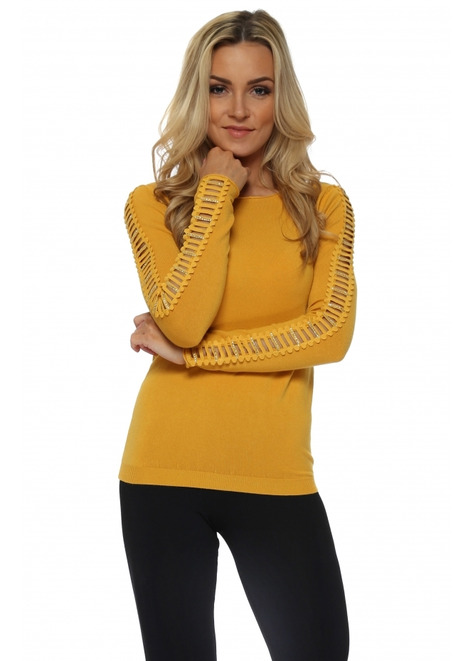 French Boutique Mustard Ladder Jewelled Sleeve Jumper