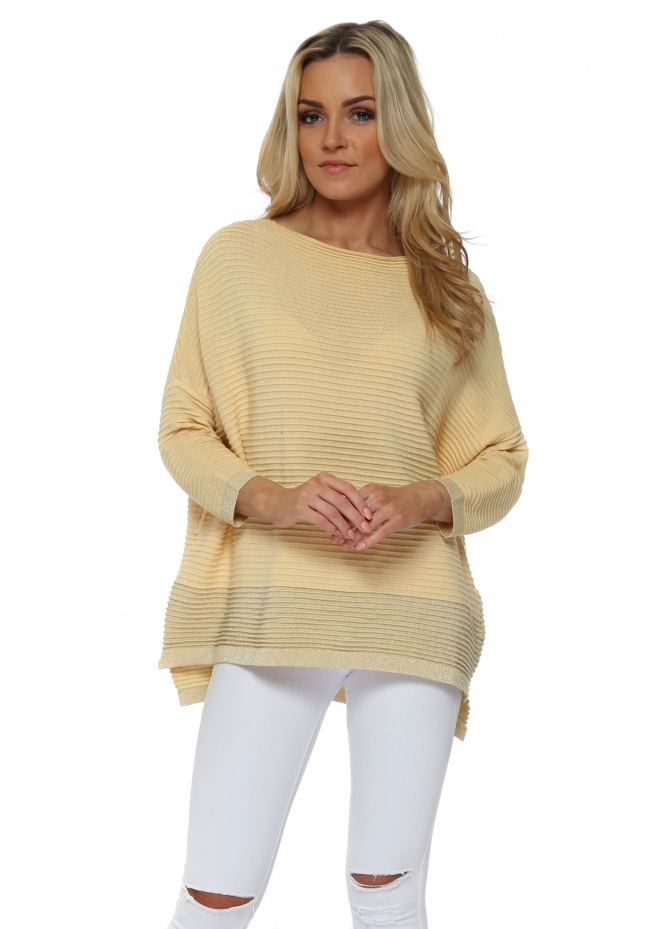 French Boutique Yellow Colour Block Lurex Ribbed Jumper