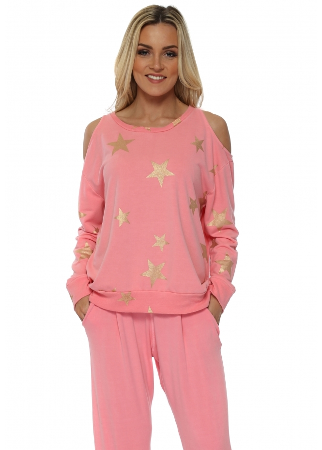 A Postcard From Brighton Belle Ibiza Sunrise Gold Foil Star Cold Shoulder Sweater