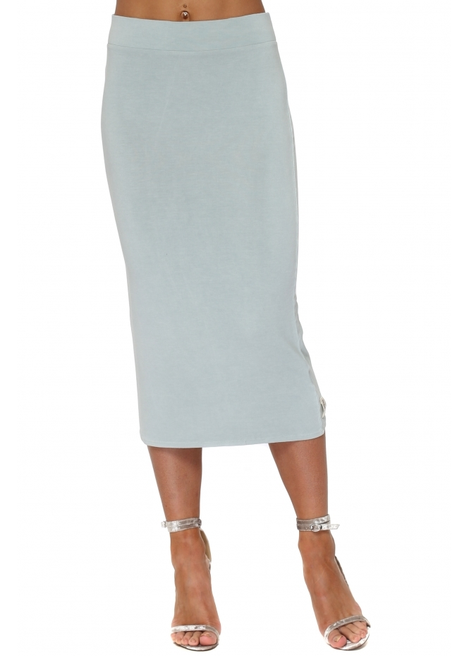 A Postcard From Brighton Mindy Julep Grey Jersey Midi Skirt