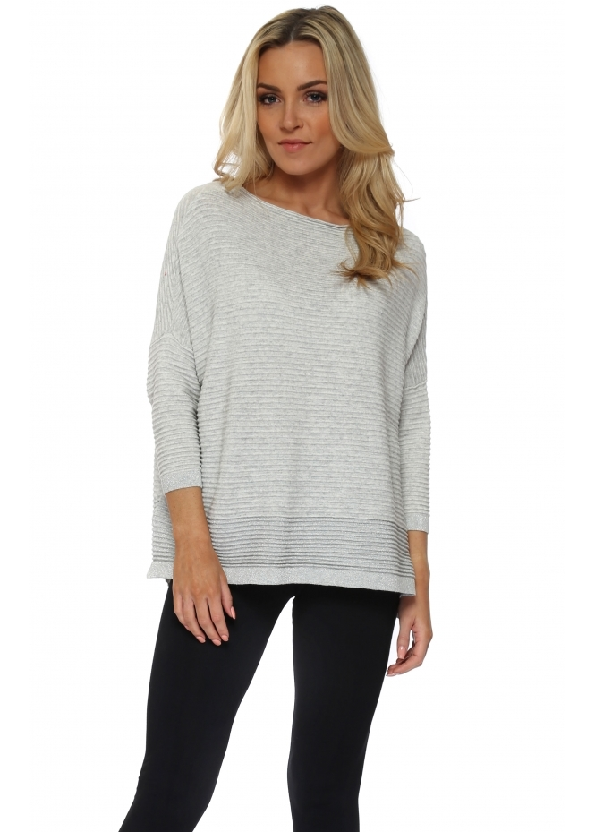 French Boutique Grey Colour Block Lurex Ribbed Jumper