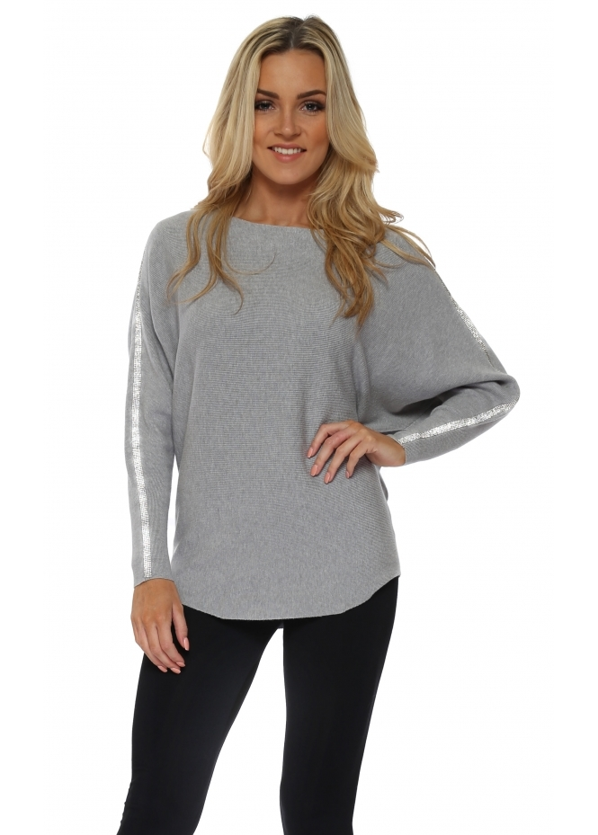 French Boutique Grey Diamonte Embellished Sleeve Jumper