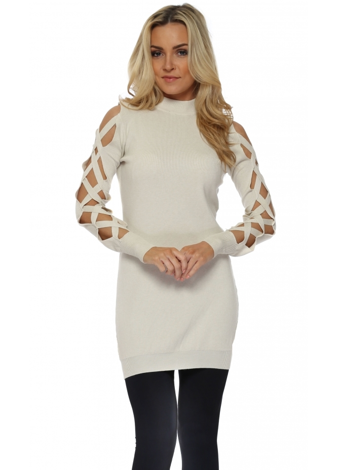 Laetitia Mem Beige Open Lattice Sleeve Long Jumper