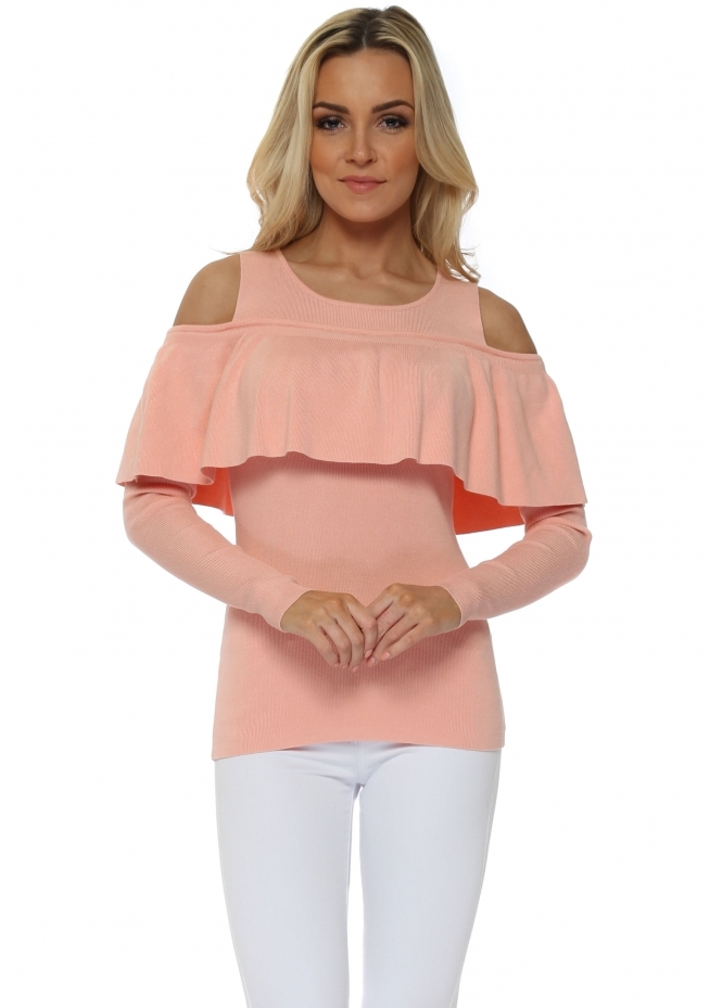 French Boutique Peach Cold Shoulder Frill Jumper