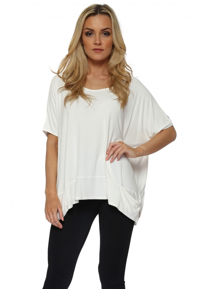 A Postcard From Brighton Sleeveless Pammy Slouch Jersey Top In Vanilla