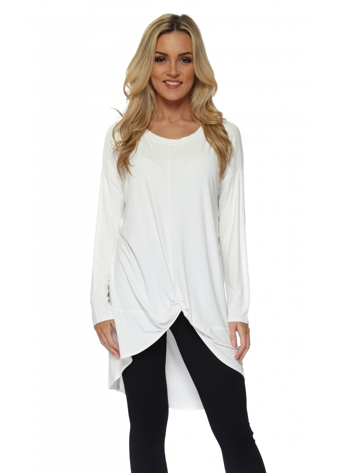 A Postcard From Brighton Vanilla Frankie Knotted Front Oversized Top
