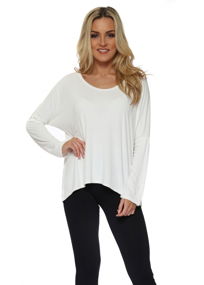A Postcard From Brighton Karma Long Sleeve Slouch Top In Vanilla