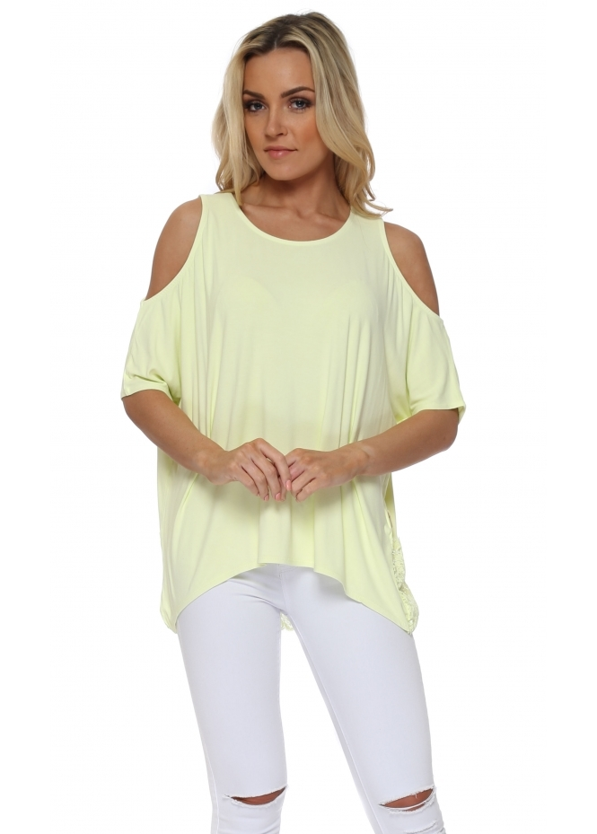 A Postcard From Brighton Twin Peaks Lemonade Cold Shoulder Lace Top