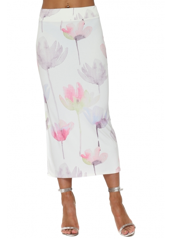 A Postcard From Brighton Audrey Arty Bloom Midi Skirt In Vanilla