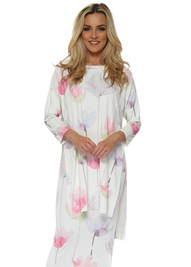 A Postcard From Brighton Ariana Arty Bloom Split Side Tunic Top In Vanilla