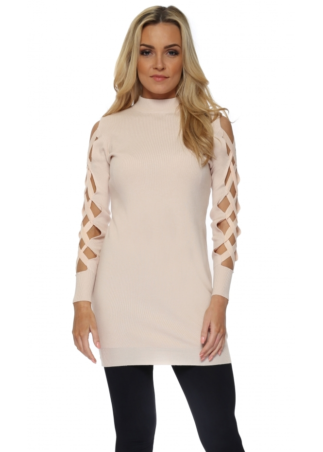 Laetitia Mem Pink Open Lattice Sleeve Long Jumper