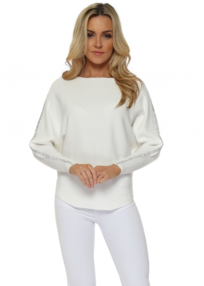 French Boutique White Diamonte Embellished Sleeve Jumper