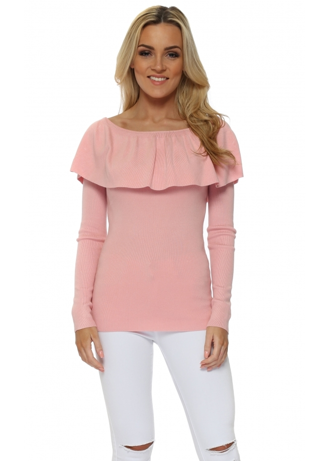 French Boutique Pink Deep Frill Neckline Jumper