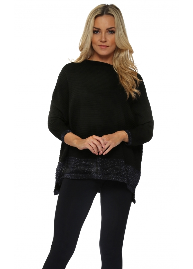 French Boutique Black Colour Block Lurex Ribbed Jumper