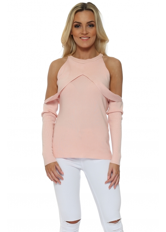 French Boutique Pink Tulip Cold Shoulder Jumper