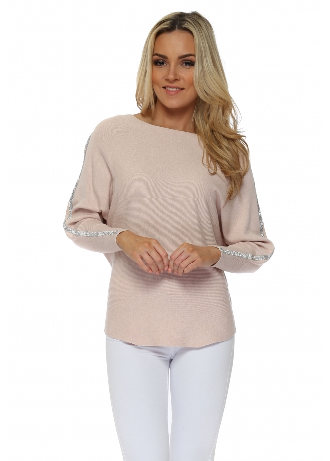 French Boutique Baby Pink Diamonte Embellished Sleeve Jumper