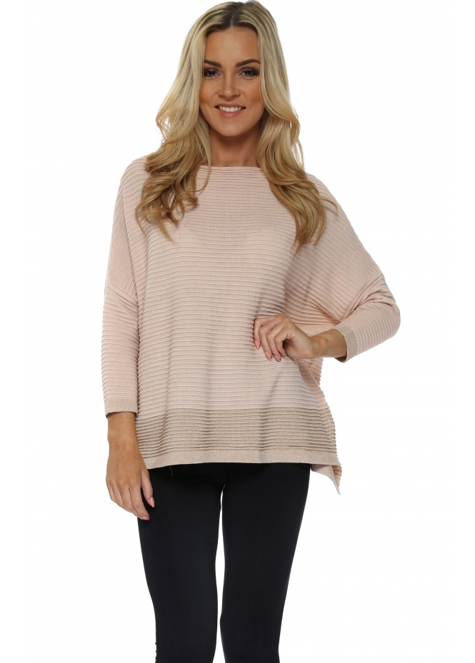French Boutique Pink Colour Block Lurex Ribbed Jumper