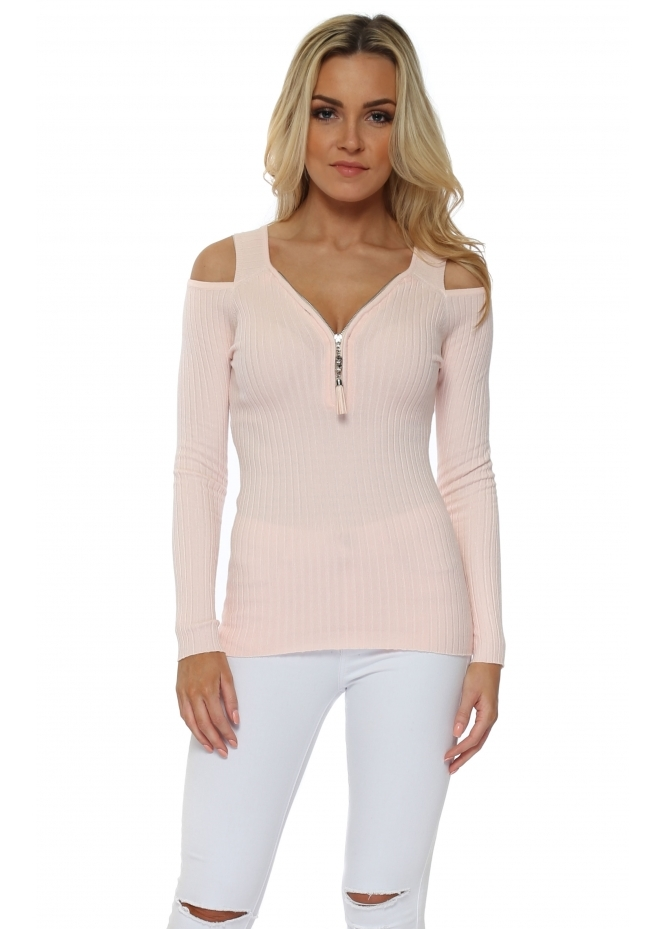 French Boutique Cold Shoulder Pink Ribbed Jumper