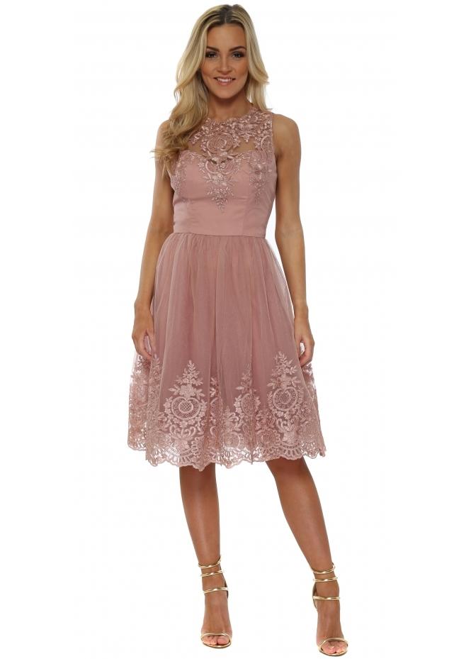 Chi Chi Shenais Pink Embroidered Back Dress