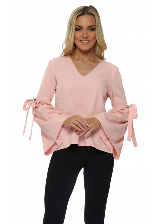 French Boutique Baby Pink Tie Bell Sleeve Blouse