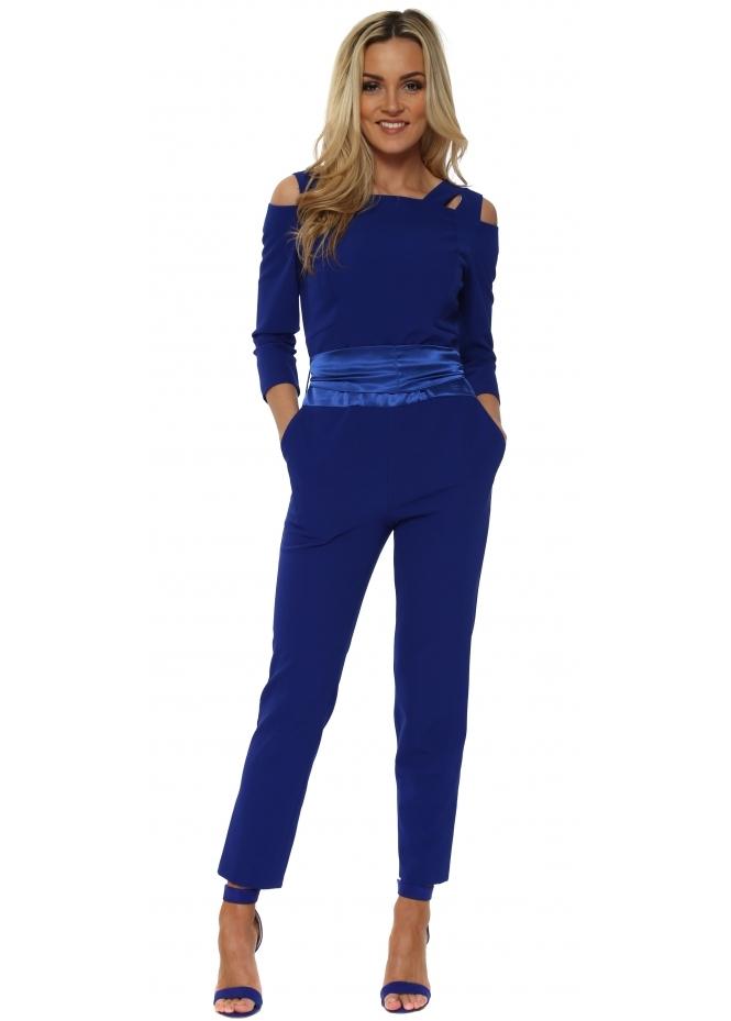 Red & Royal Cobalt Blue Cold Shoulder Tuxedo Jumpsuit
