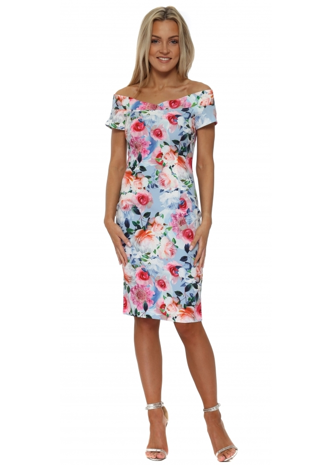 Paper Dolls Blue Floral Print Bardot Pencil Dress