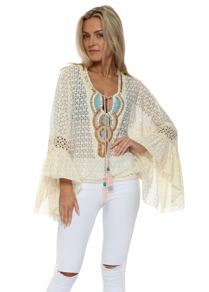Laurie & Joe Cream Crochet Lace Embellished Bell Cuff Top