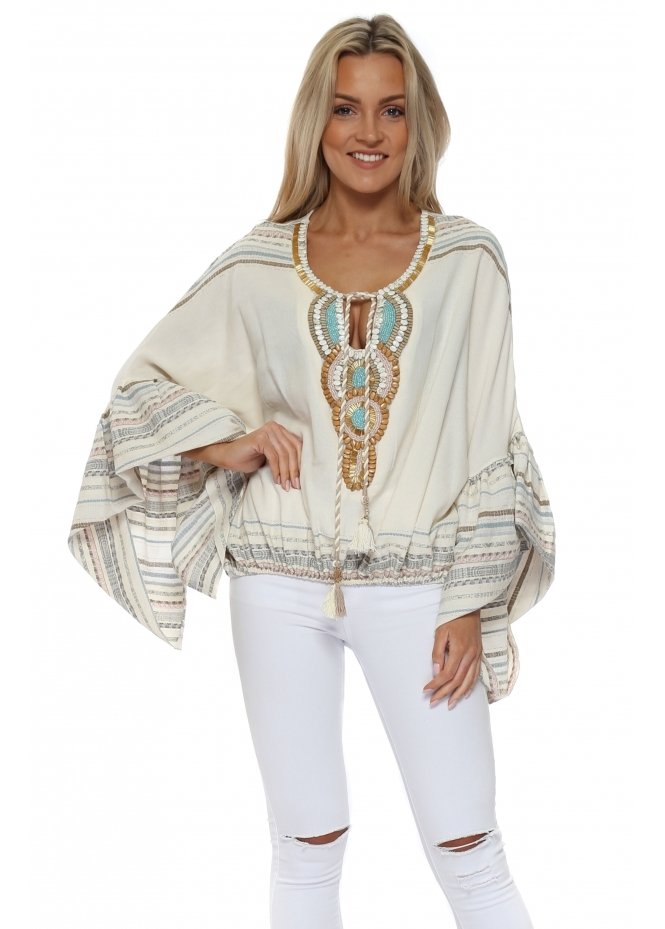 Laurie & Joe Cream Pastel Aztec Embellished Batwing Top