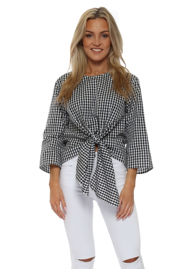 French Boutique Black & White Check Tie Front Blouse