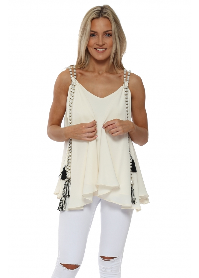 Monaco Ivory Chiffon Waterfall Pearl Top