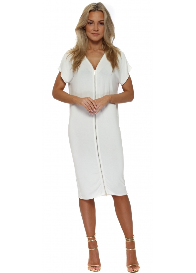 A Postcard From Brighton Eddie Vanilla Double Zip Sleeveless Dress