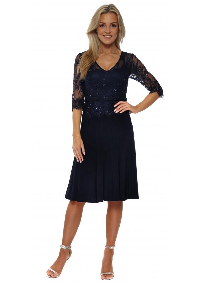 Mascara Blue Sequinned Lace Bodice Dress