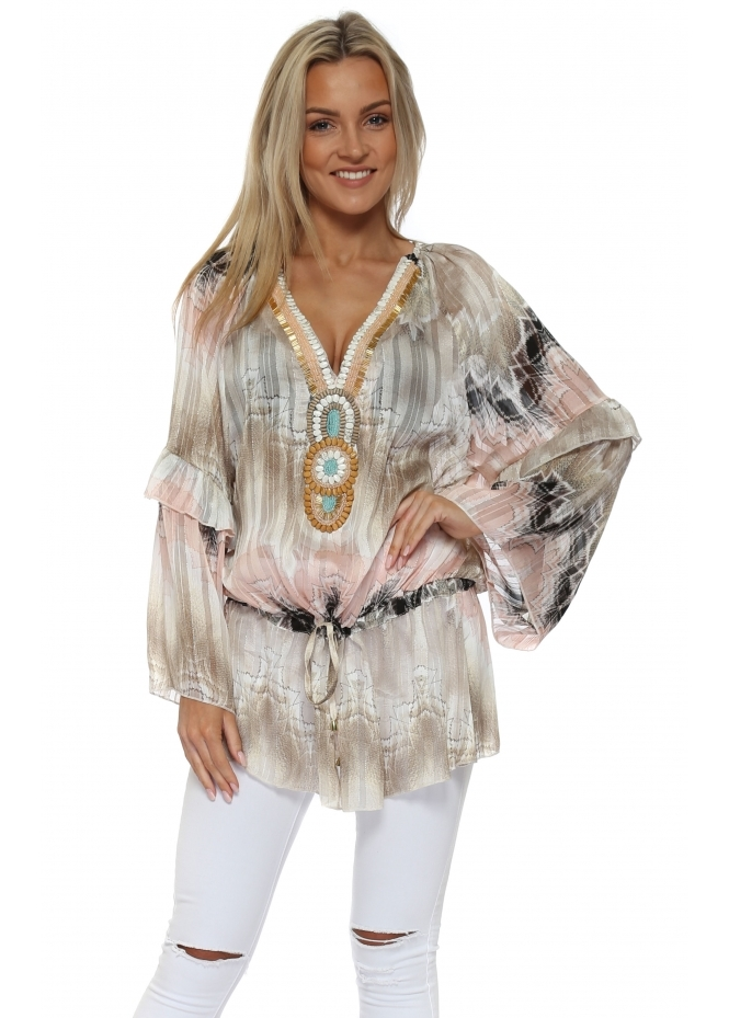 Just M Paris Luis Pink & Mocha Beaded Chiffon Tunic Top
